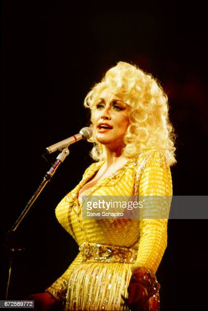 American musician Dolly Parton performs onstage at an unidentified venue Los Angeles California 1980s
