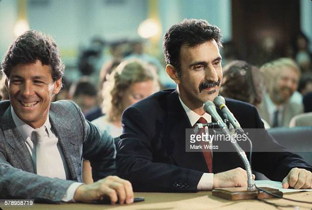 American musician Frank Zappa appears at the PMRC senate hearing at Capitol Hill Washington DC United States 19th September 1985 Representatives of...