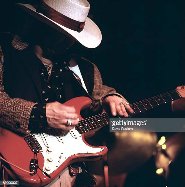 FESTIVAL Photo of Stevie Ray VAUGHAN performing live onstage playing Fender Stratocaster guitar
