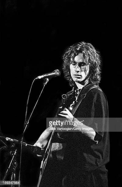 American musician Jeff Buckley performs during the 'Greetings from Tim Buckley' concert a tribute to his father at Arts at St Ann Brooklyn New York...