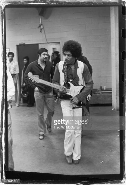 American musician Jimi Hendrix backstage with his guitar at the Winter Concert for Peace held at Madison Square Garden January 29 1970 Hendrix went...