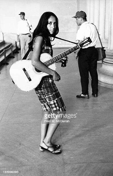 American musician Joan Baez at the Lincoln Memorial Washington DC August 28 1963 She was there in support of the March on Washington for Jobs and...