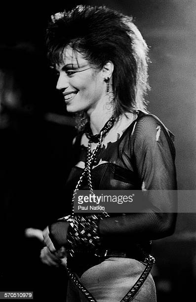 American musician Joan Jett performs onstage at the Thirsty Whale bar during filming of the movie 'Light of Day' Chicago Illinois April 7 1986