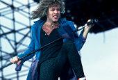 American musician Jon Bon Jovi performs at Memorial Stadium for the Farm Aid Concert Champaign Illinois September 22 1985
