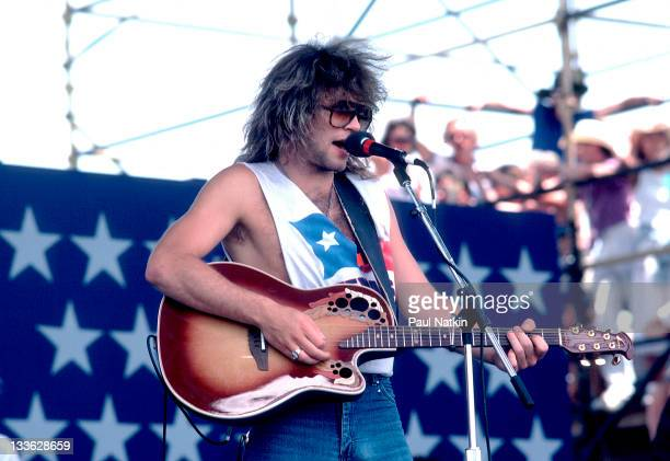American musician Jon Bon Jovi performs at the Manor Downs Racetrack for the Farm Aid II Concert Austin Texas July 4 1986