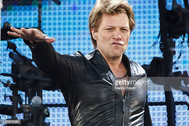 American musician Jon Bon Jovi performs on stage at Ostragehege on June 10 2011 in Dresden Germany