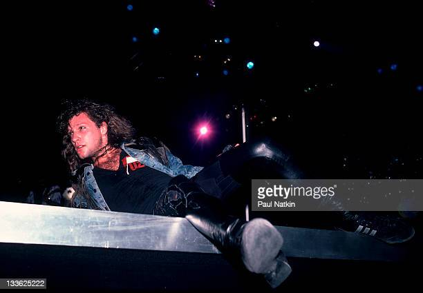 American musician Jon Bon Jovi performs on stage Illinois early March 1987