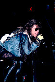 American musician Jon Bon Jovi performs on stage Illinois early March 1987