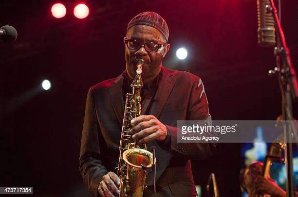 American musician Kenny Garrett plays saxophone during 18th Annual Gnaoua Music Festival in Essaouira Morocco on May 16 2015