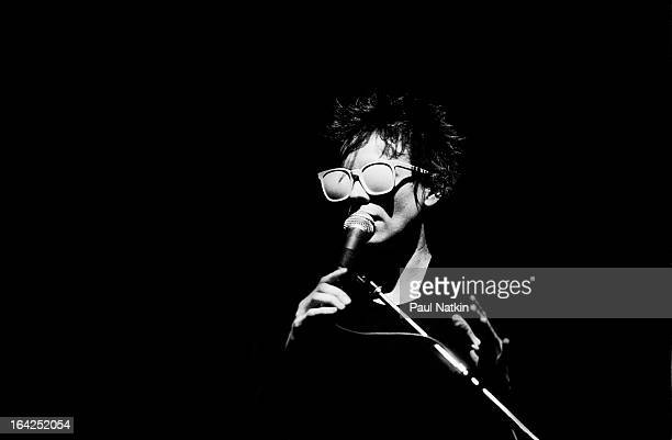 American musician Laurie Anderson performs on stage at Park West Chicago Illinois May 19 1982