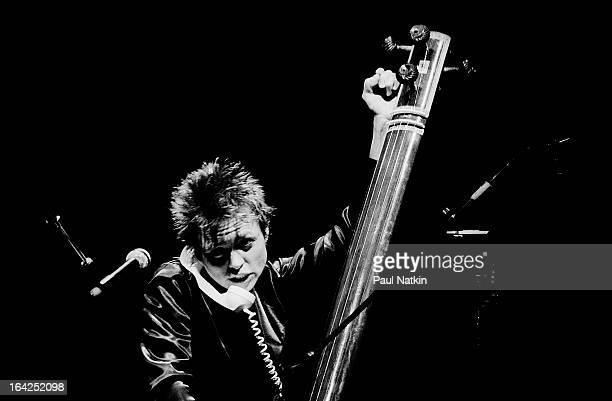 American musician Laurie Anderson play tanpura and a corded telephone on stage at Park West Chicago Illinois March 23 1983