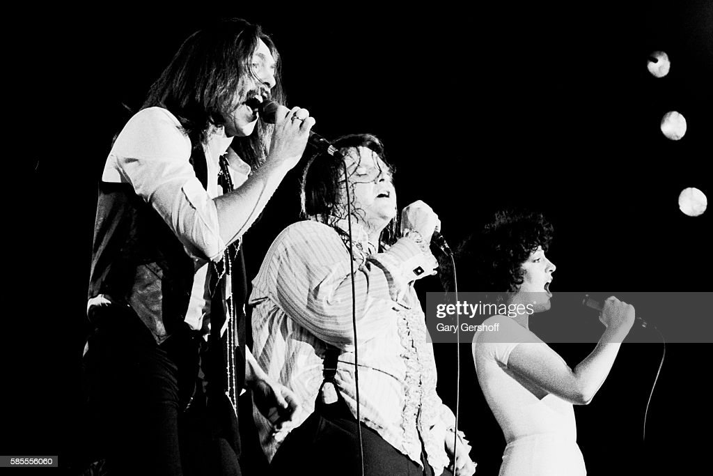American musician Meat Loaf performs onstage with his band Neverland Express who include Canadian Rory Dodd and Germanborn American Karla DeVito at...