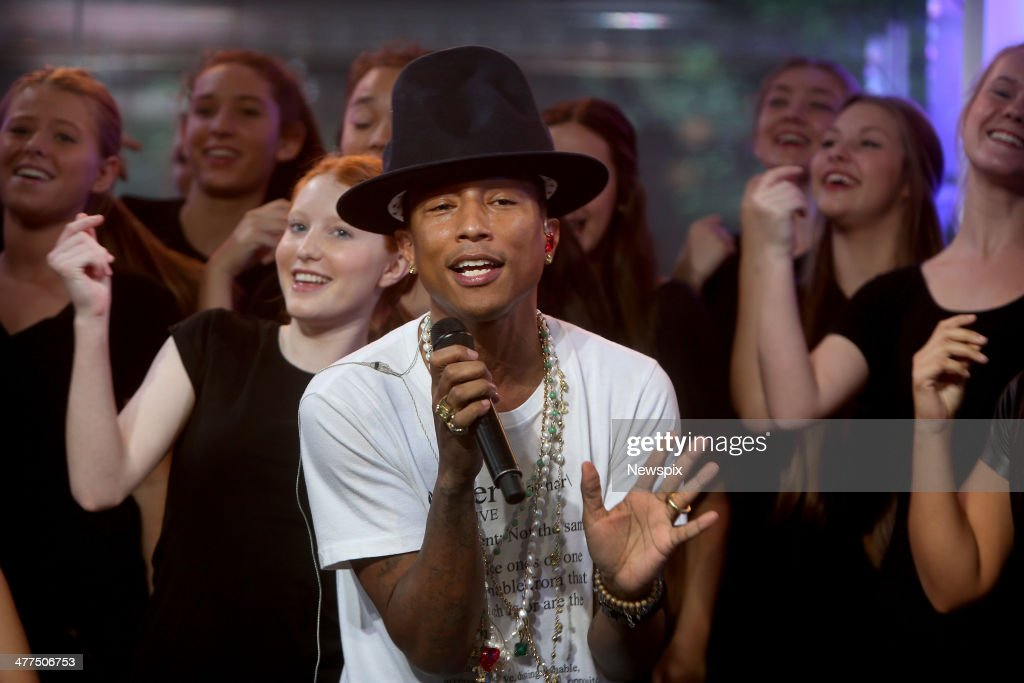 American musician <a gi-track='captionPersonalityLinkClicked' href=/galleries/search?phrase=Pharrell+Williams&family=editorial&specificpeople=161396 ng-click='$event.stopPropagation()'>Pharrell Williams</a> performs on breakfast television show 'Sunrise' at Martin Place on March 6, 2014 in Sydney, Australia.