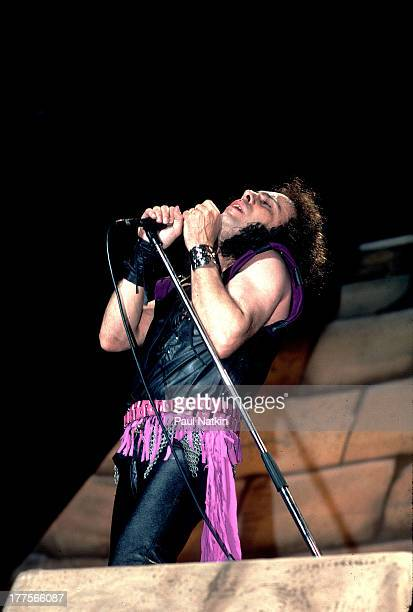 American musician Ronnie James Dio performs on stage Chicago Illinois February 19 1988