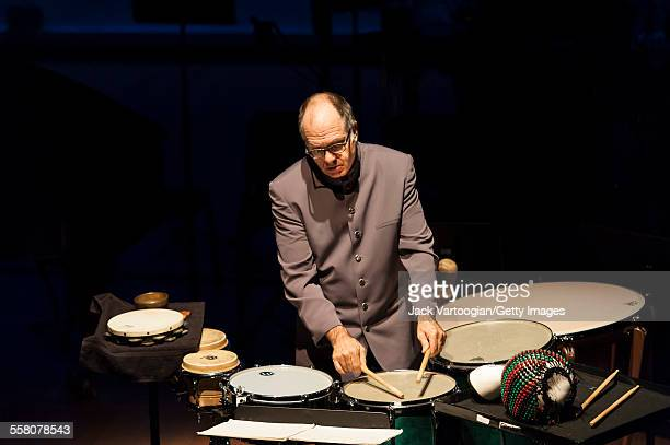 American musician Steven Schick plays percussion as he performs onstage at the 'Composer Portraits George Lewis' concert at the Miller Theatre at...