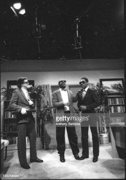 American musician Stevie Wonder appears on an episode of 'Saturday Night Live' with comedians Joe Piscopo and Eddie Murphy New York New York May 6...