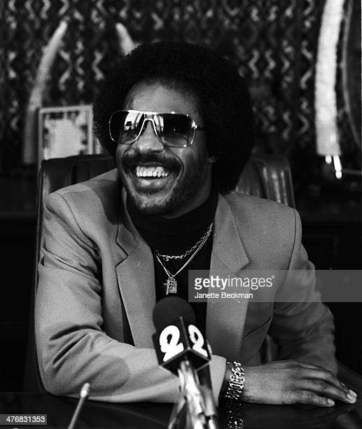 American musician Stevie Wonder at an unspecified press conference Los Angeles California 1983