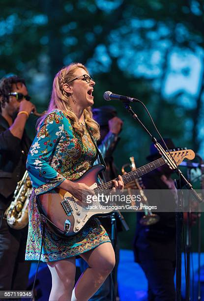 American musician Susan Tedeschi plays guitar as she performs with the Tedeschi Trucks Band on opening night of the 30th Anniversary season of...