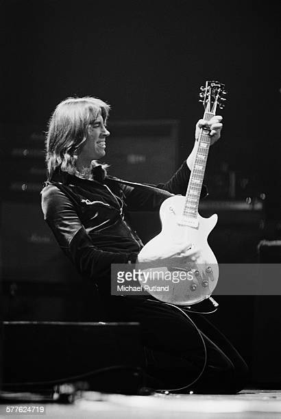 American musician Tom Scholz performing with American rock group Boston 19th April 1977