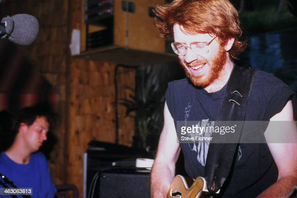 American musician Trey Anastasio of Phish performs at the Wetlands Preserve nightclub New York New York June 9 1990 Bandmate Page McConnell is...