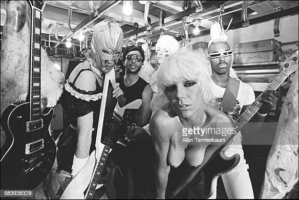 American musician Wendy O Williams of the group the Plasmatics films a video in a west side meat locker with her band New York New York July 22 1980