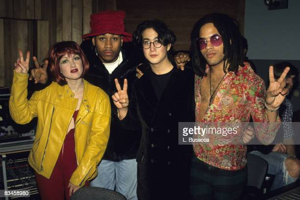 Musicians Cyndi Lauper LL Cool J Sean Lennon and Lenny Kravitz attend the 1991 recording of 'Give Peace a Chance'