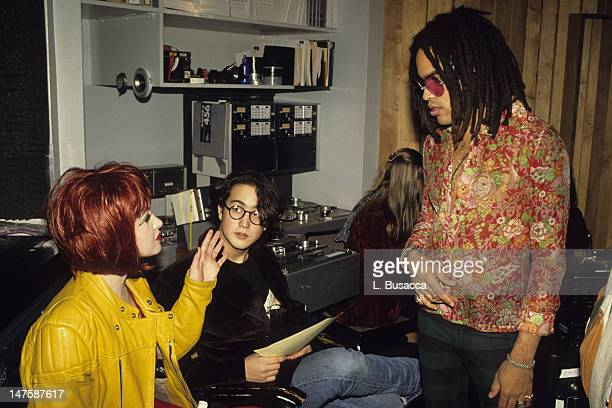 Musicians Cyndi Lauper Sean Lennon and Lenny Kravitz attend the 1991 recording of 'Give Peace a Chance'