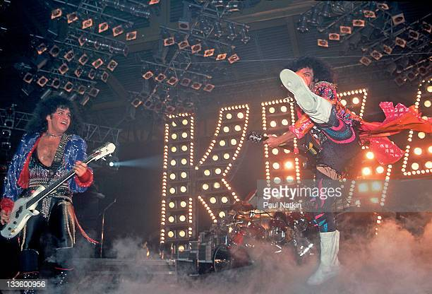 American musicians Gene Simmons and Paul Stanley of the group Kiss perform at the UIC Pavillion Chicago Illinois January 10 1986
