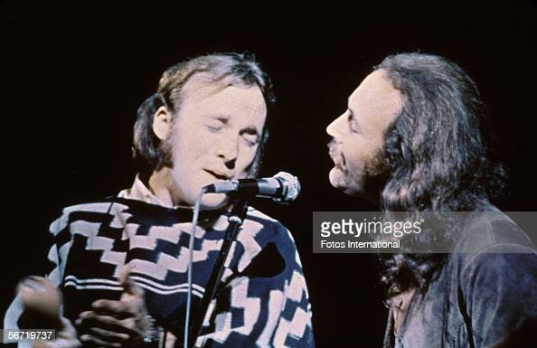 American musicians Stephen Stills and David Crosby of the group Crosby Stills Nash performs on stage at the Woodstock Music and Art Festival Bethel...