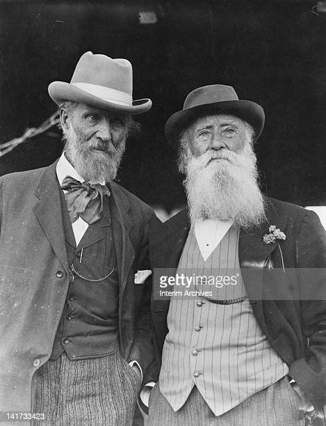 American naturalist and author John Muir left stands with fellow naturalist and essayist John Burroughs right on the latter's 75th birthday April 1912