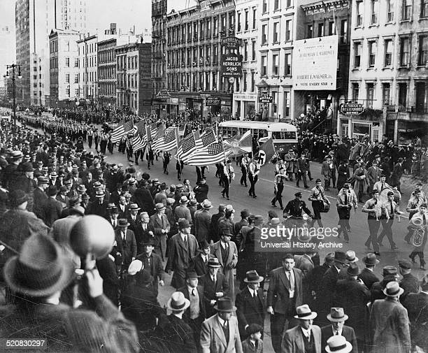 American Nazis parade on East 86th St New York Dated around 1939 During the Second World War