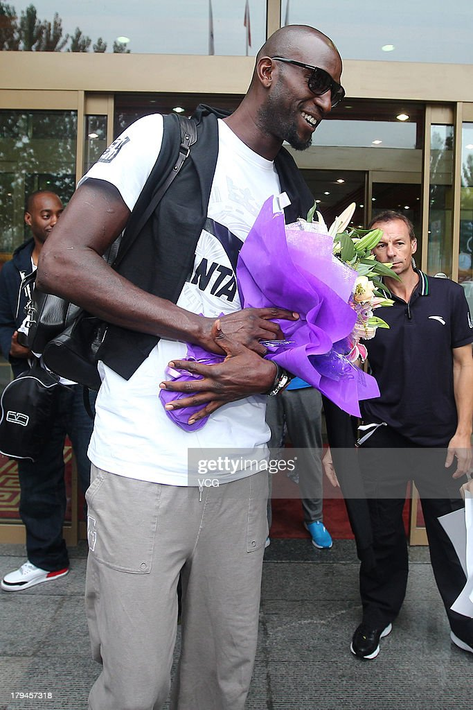 American NBA player <a gi-track='captionPersonalityLinkClicked' href=/galleries/search?phrase=Kevin+Garnett&family=editorial&specificpeople=201473 ng-click='$event.stopPropagation()'>Kevin Garnett</a> of the Brooklyn Nets arrives at Beijing Capital International Airport on September 4, 2013 in Beijing, China.