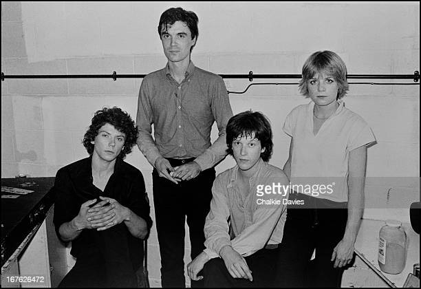 American new wave group Talking Heads in their dressing room at the Roundhouse London 1979 Left to right guitarist Jerry Harrison singer David Byrne...
