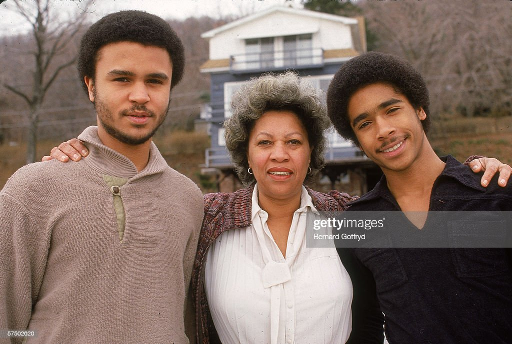 American Nobel Prize winning author <a gi-track='captionPersonalityLinkClicked' href=/galleries/search?phrase=Toni+Morrison&family=editorial&specificpeople=213946 ng-click='$event.stopPropagation()'>Toni Morrison</a> (center) poses with her sons Harold Ford Morrison and Kevin Slade Morrison, New York, 1980s.