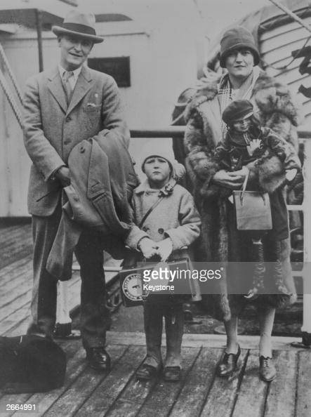 American novelist F Scott Fitzgerald with his wife Zelda and daughter on a liner's deck