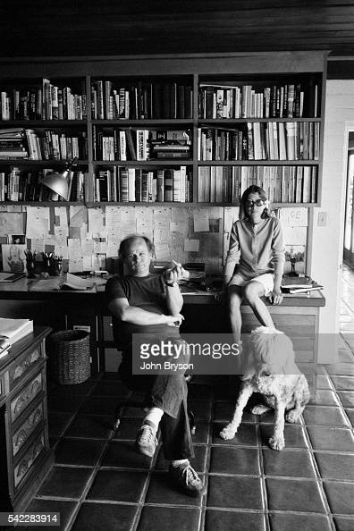 American novelist screenwriter and literary critic John Gregory Dunne and his wife writer Joan Didion at home