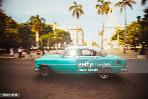 American oldtimer cruises the streets of Havana, Cuba
