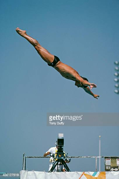 American Olympic diver Greg Louganis at the springboard diving preliminary rounds during the Summer Olympics Los Angeles 7th August 1984 Louganis...