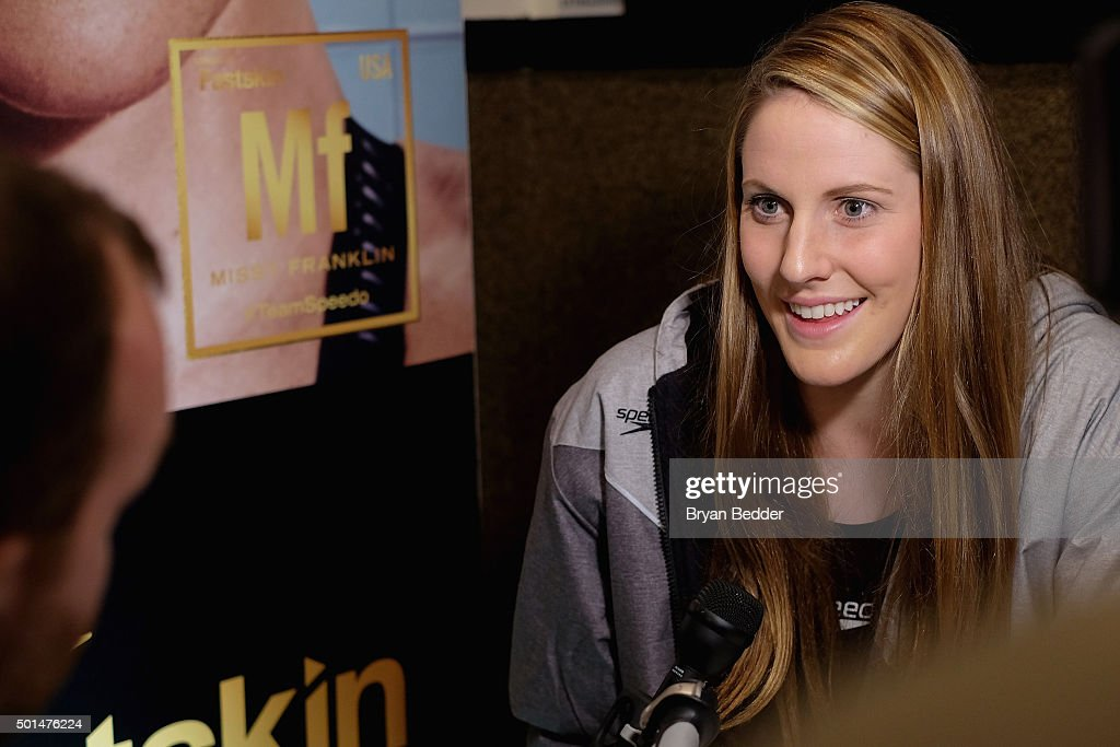 American Olympic swimmer Missy Franklin speaks during the New York launch of Team Speedo and Speedo's Fastskin LZR Racer X on December 15 2015 in New...