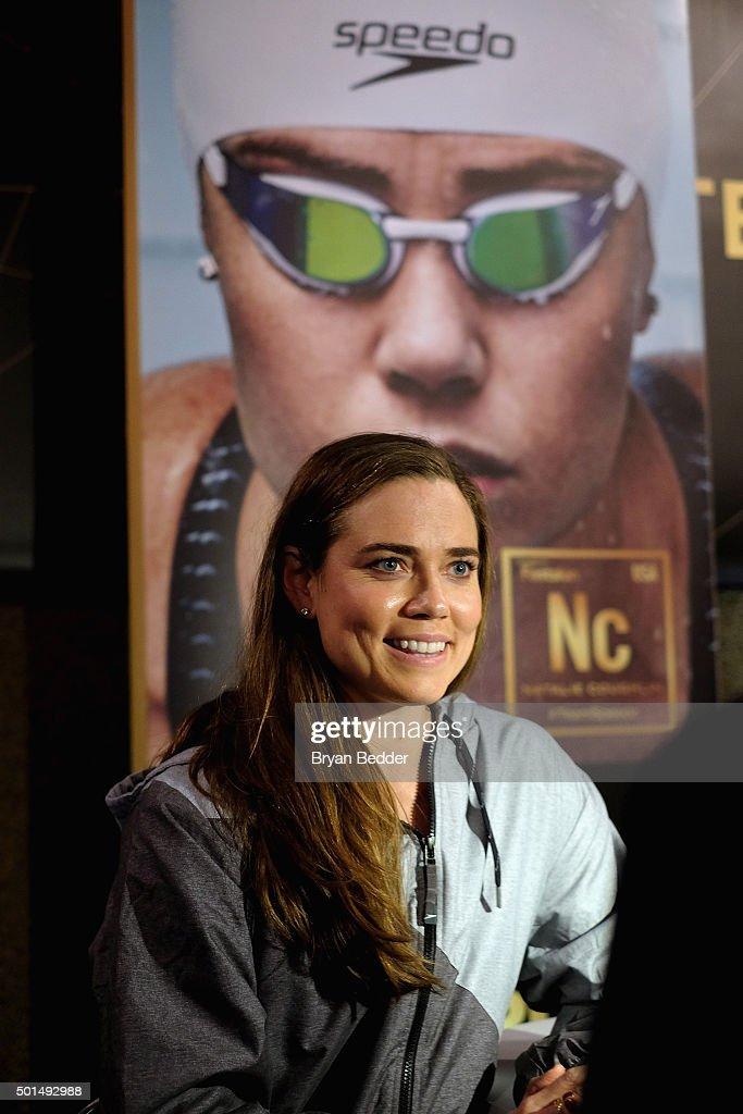 American Olympic swimmer Natalie Coughlin speaks during the New York launch of Team Speedo and Speedo's Fastskin LZR Racer X on December 15 2015 in...
