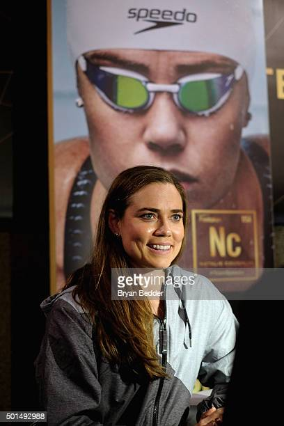 American Olympic swimmer Natalie Coughlin speaks during the New York launch of Team Speedo and Speedo's Fastskin LZR Racer X on December 15 2015 in...