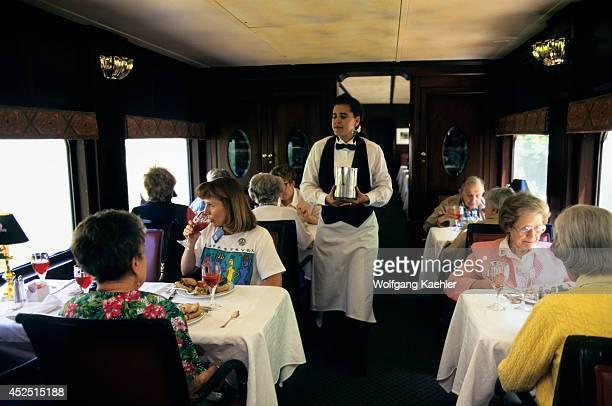 USA American Orient Express Restaurant Car Passengers Having Breakfast
