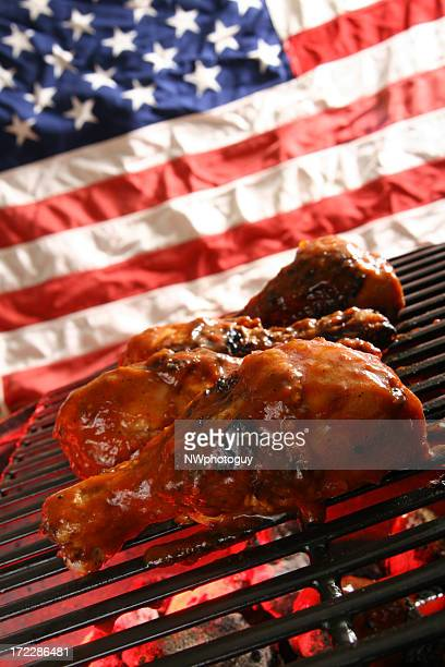 American Outdoor Cooking - Barbecue Chicken on Grill
