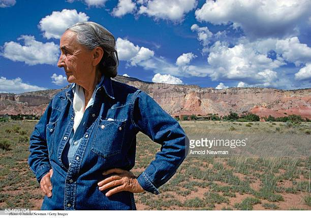 American painter Georgia O''Keeffe poses for a portrait August 2 1968 at Ghost Ranch in New Mexico