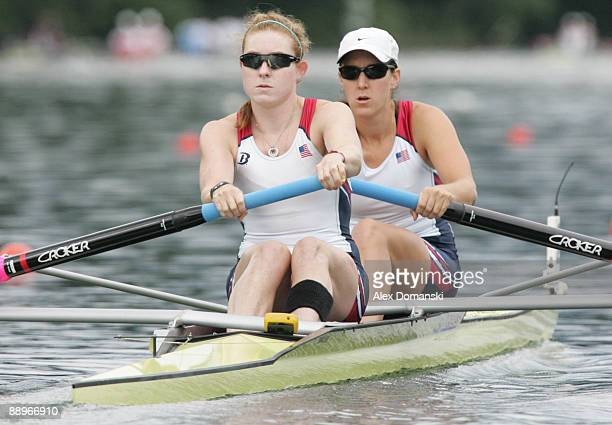 American pair Caroline Lind and Lindsay Shoop compete in the women's pair race during the FISA Rowing World Cup on July 10 2009 in Lucerne Switzerland