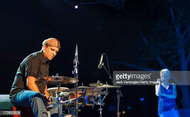 American percussionist Gabe Harris performs onstage at Central Park SummerStage New York New York June 17 2013 His mother folk singer Joan Baez is...