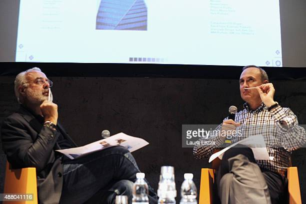 American perfume critic writer museum curator Chandler Burr and Italian art critic and art curator Francesco Bonami attend a a debate on the theme of...