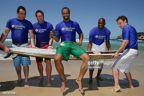 American personality Isaiah Mustafa of Old Spice commercial fame poses for the media at Bondi Beach on October 20 2010 in Sydney Australia
