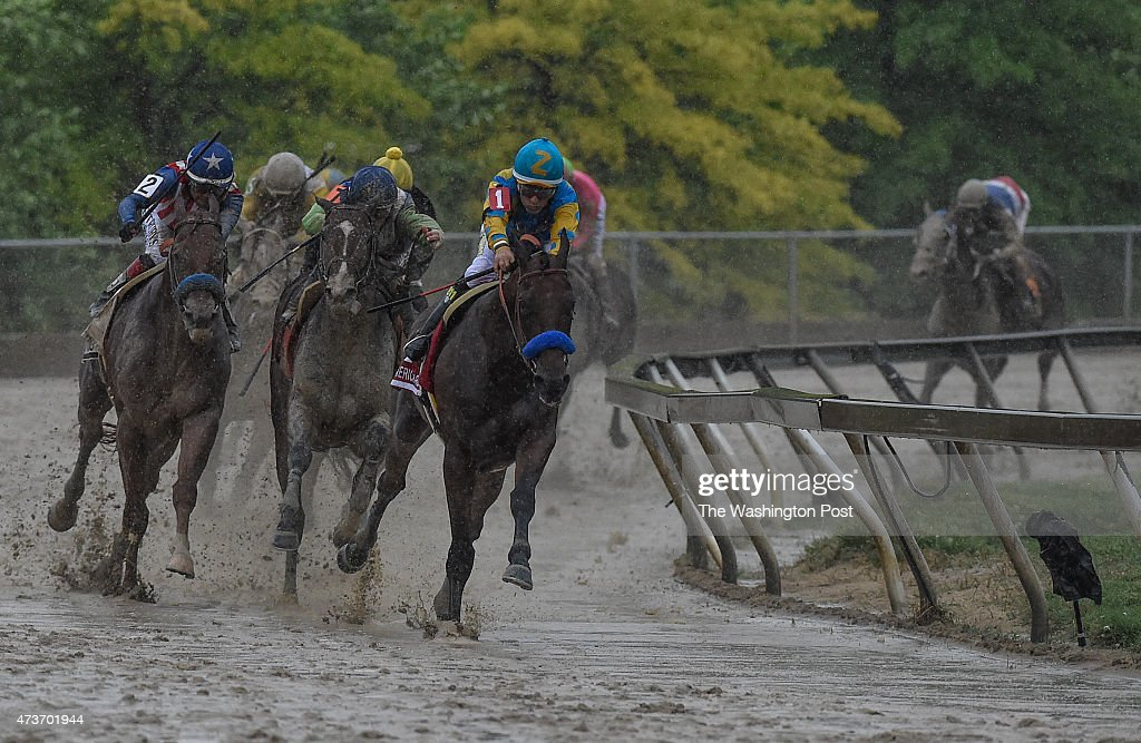 American Pharoah ridden by Victor Espinoza heads out of turn four on his way to wining the 140th Preakness Stakes at Pimlico Racecourse on Saturday...