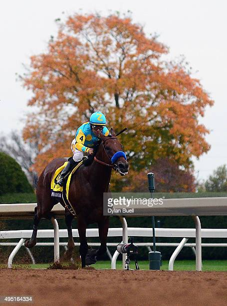 American Pharoah ridden by Victor Espinoza heads to the finish line in the Breeders' Cup Classic during day two of the Breeders' Cup at Keeneland...